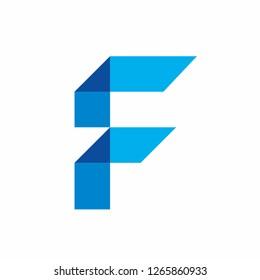 Monogram Letter F Geometric Triangle Square Business Company Vector Logo Design