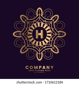 Monogram letter H logo. Luxurious mandala logo for Cafe, Hotel, Restaurant, Jewelry and Antique.