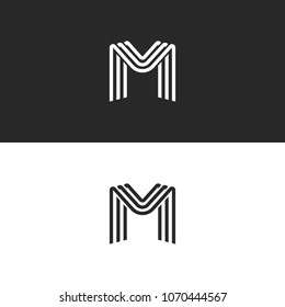 Monogram letter M logo, black and white smooth lines design element, minimal style MMM initials