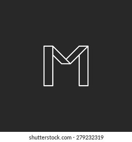 Monogram letter M logo mockup, geometric broken thin line black and white simple emblem, minimal line graphic style