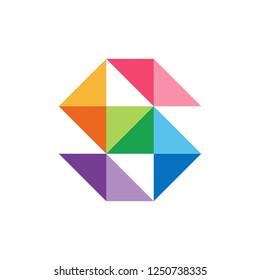 Monogram Letter S Geometric Triangle Square Business Company Stock Vector Logo Design Template