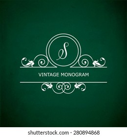 Monogram of the letter S, in retro floral style on green chalkboard background. EPS10 vector format