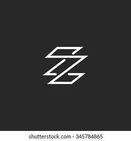 Monogram letter Z logo hipster minimal style, weaving thin line template initials ZZ emblem