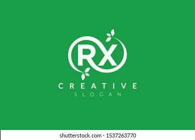 Monogram logo design combining letters R and X and leaves. Simple and modern vector design for business brands in the spa, hotel, beauty, health, fashion, cosmetic, boutique, salon, yoga, therapy