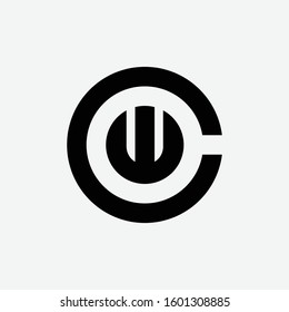 monogram logo design letter CW or WC