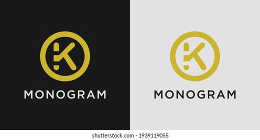 Monogram logo design letter k with creative circle concept
