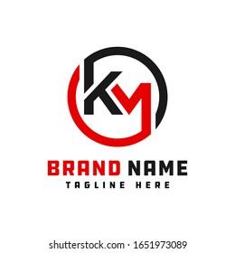 monogram logo design letter KM