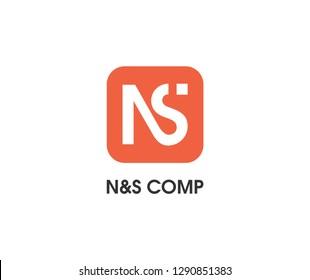 NS monogram logo design. Vector image.