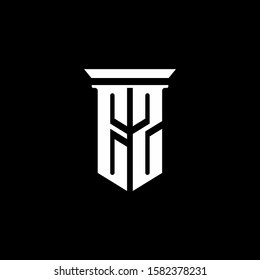 monogram logo with emblem style isolated on black background