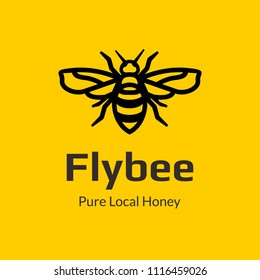 Monogram logo fly bee design template with linear style in yellow background. Pure local honey icon visual brand identity.
