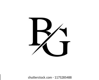 The monogram logo letter BG is sliced