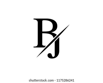 The monogram logo letter BJ is sliced