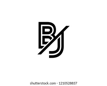 The monogram logo letter BJ is sliced black
