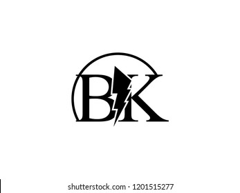 The monogram logo letter BK is split by lightning