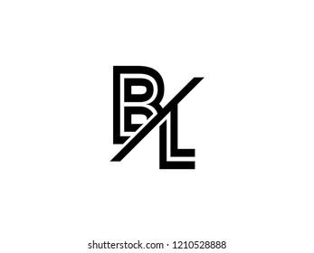 The monogram logo letter BL is sliced black