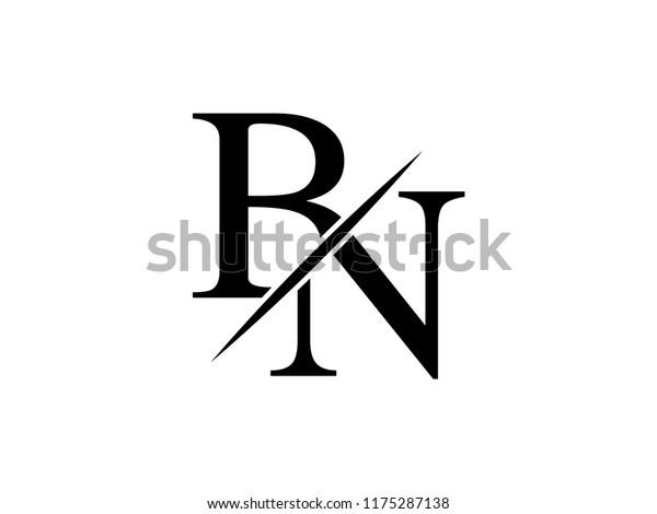 Monogram Logo Letter Bn Sliced Stock Vector Royalty Free 1175287138