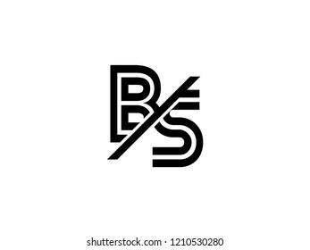 The monogram logo letter BS is sliced black