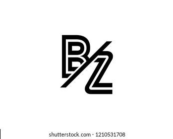 The monogram logo letter BZ is sliced black