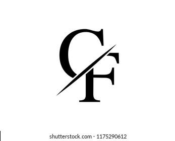 The monogram logo letter CF is sliced