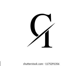 The monogram logo letter CI  is sliced