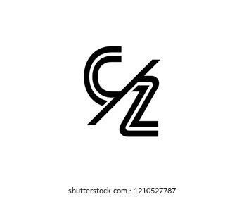 The monogram logo letter CZ is sliced black