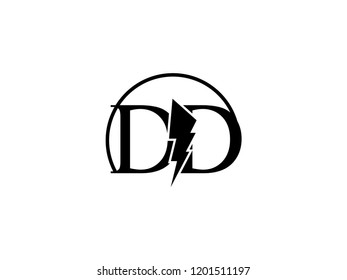 The monogram logo letter DD is split by lightning