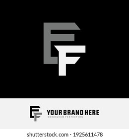 Monogram logo letter E, F, EF or FE `modern, simple, sporty, white and gray color on black background