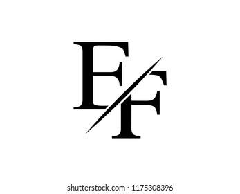 The monogram logo letter EF is sliced