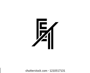 The monogram logo letter EI is sliced black