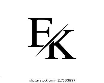 The monogram logo letter EK is sliced