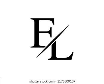 The monogram logo letter EL is sliced