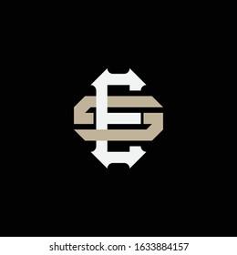 monogram logo letter ES or SE vintage, sporty, simple, interlock on black background