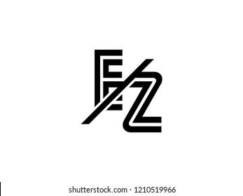 The monogram logo letter EZ is sliced black