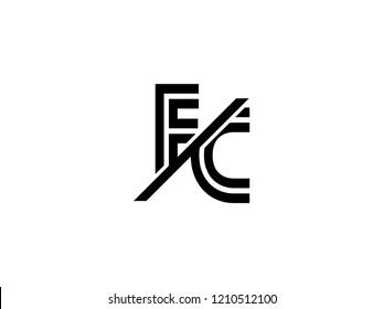 The monogram logo letter FC is sliced black