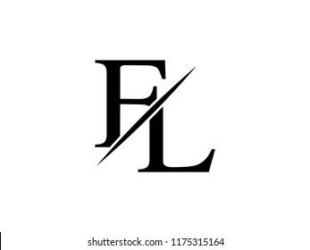 The monogram logo letter FL is sliced
