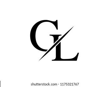 The monogram logo letter GL is sliced