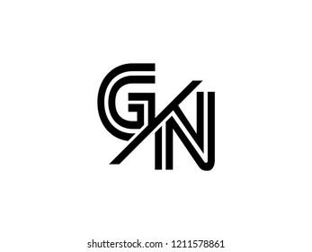 The monogram logo letter GN is sliced black