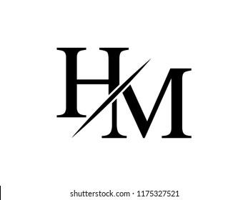 The monogram logo letter HM is sliced
