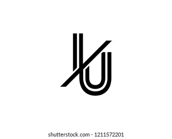 The monogram logo letter IU is sliced black