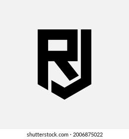 Monogram logo letter J, R, JR or RJ modern, simple, sporty, black color on white background