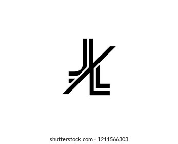 The monogram logo letter JL is sliced black