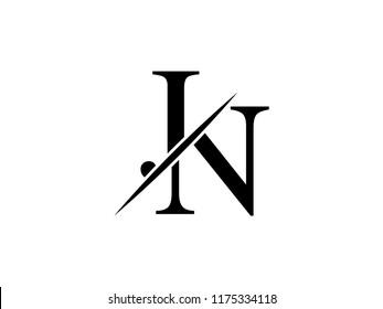 The monogram logo letter JN is sliced