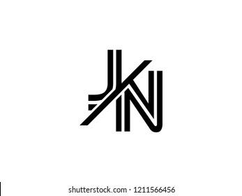 The monogram logo letter JN is sliced black