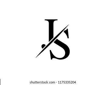 The monogram logo letter JS is sliced