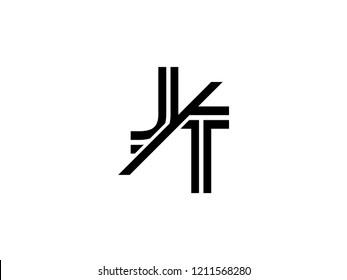 The monogram logo letter JT is sliced black