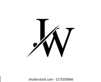 The monogram logo letter JW is sliced