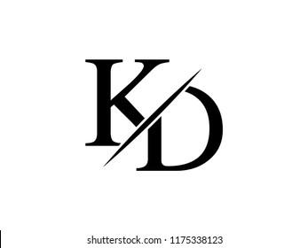 The monogram logo letter KD is sliced