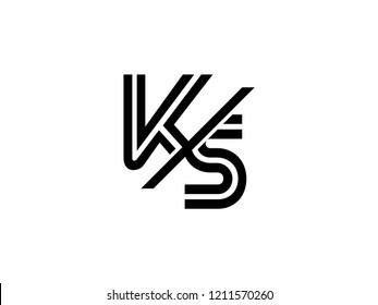 Monogram Logo Letter Ks Sliced Black Stock Vector Royalty Free 1211570260