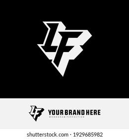 Monogram logo letter L, F, LF or FL `modern, simple, sporty, white and black color on black background
