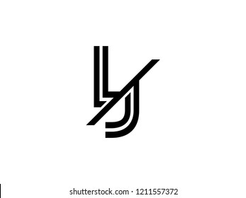 The monogram logo letter LJ is sliced black